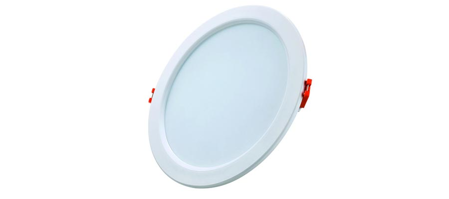 Downlight LED plat de forme ronde et de couleur blanche